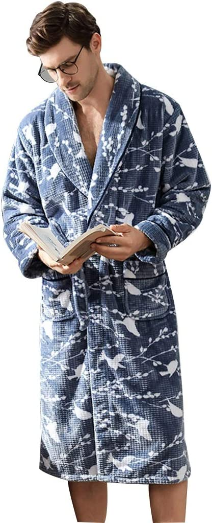 Pajamas Men's Winter Thickening Flannel Bathrobe Men's Men's Autumn and Winter Models Long Robe (Color : Blue, Size : XL)