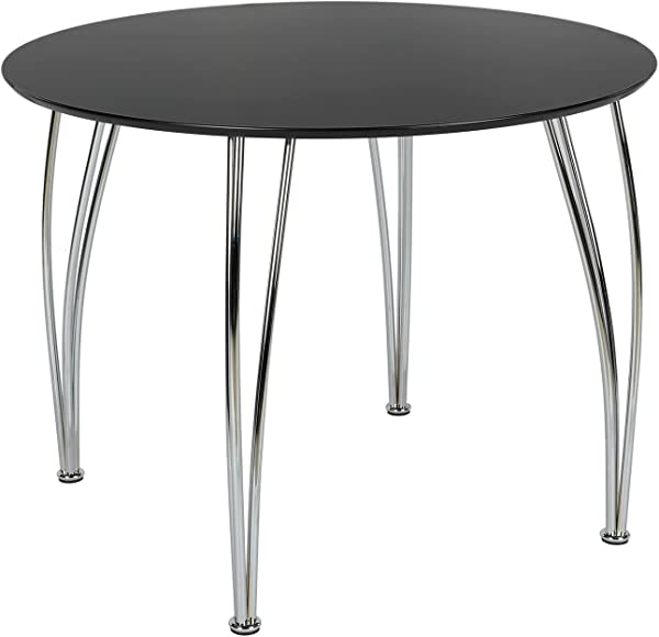 Novogratz Round Dining Table With Chrome Plated Legs Black