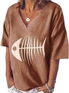 KLJR Women's V Neck Printed Blouse Loose Short Sleeve Tops T-shirt