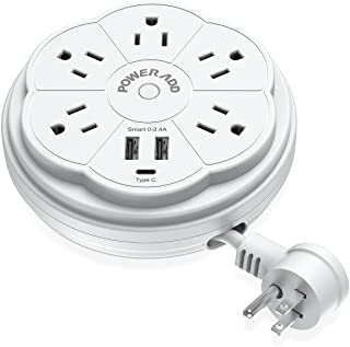 POWERADD Travel Power Strip 5 Outlet Surge Protector with Retractable Cord Smart USB Ports and Type-C Port, 125V/13A, 3.3ft Extension Cord, Portable & Neat for Travel/Home /Office