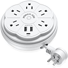POWERADD Travel Power Strip 5 Outlet Surge Protector with Retractable Cord Smart USB..