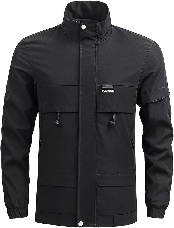 Mens Full Zip Hooded Waterproof Cargo Jacket Lightweight Packable Rain Jackets Outdoor Casual Windproof Sportswear