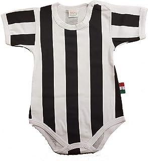Zigozago Body Made in Italy a Manica Corta a Righe Bianco e Nero Stampate Fatto a Mano in Cotone