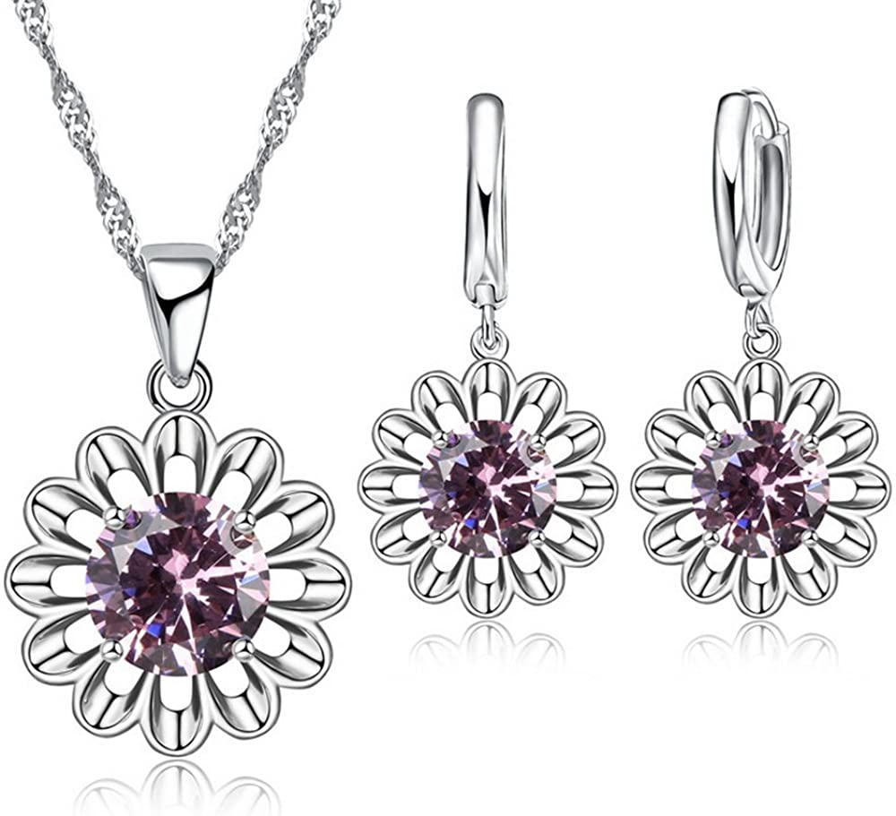 Romantic Jewelry Set Beautiful Cubic Zircon Daisy Flower Pendant Necklace Earrings for Women Girls Gifts