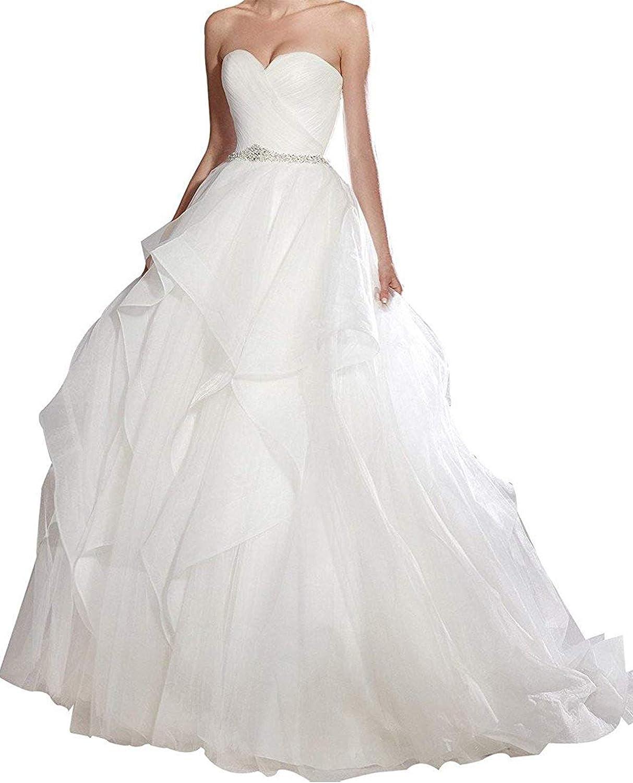 Libaosha Women Wedding Dresses Sweetheart Organza Ruffles Ball Gown for Brides