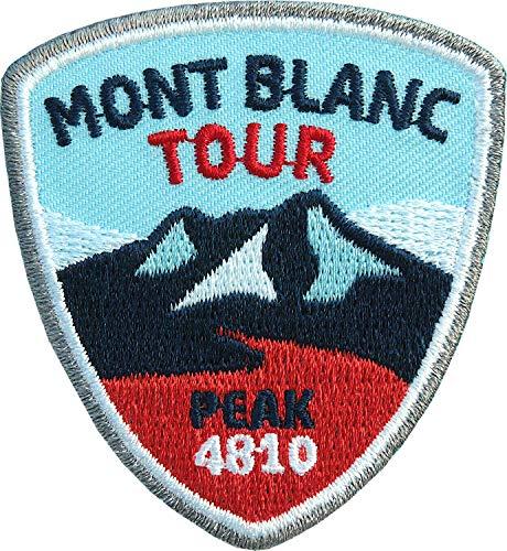 2 x Mont Blanc Abzeichen 55 x 60 mm gestickt / Mont-Blanc Tour Frankreich französische Alpen / Bergsteigen Wandern Bergtour / Aufnäher Aufbügler Sticker Flicken Patch / Wanderführer Ski-Touren Karte