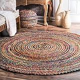 Alfombra de yute de comercio justo hecha a mano, multicolor, india, reciclada, algodón, natural, 60 cm