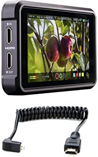 "Atomos Ninja V 5"" Touchscreen Recording Monitor, 1920x1200, 4K HDMI Input 11.81""/30cm Coiled Right Angled Micro HDMI to St..."