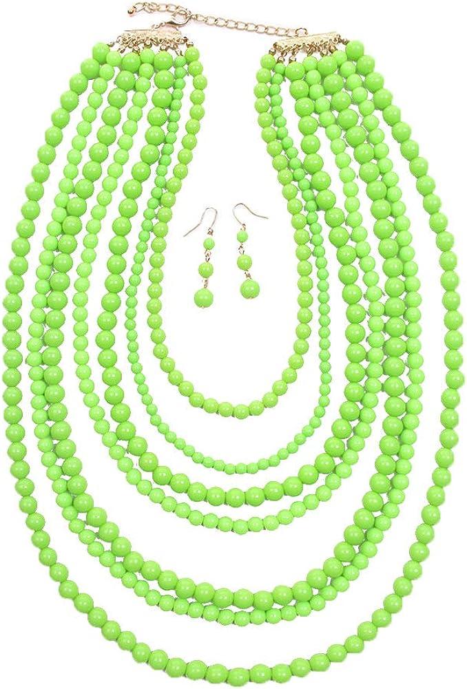 ScarvesMe JY Fashion 7 Strand Layered Bead Luxury Costume Necklace Set