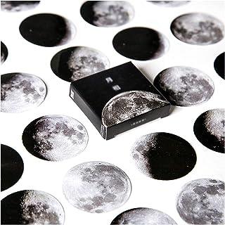 AIUIN 45Pcs/Ensemble Timbres Autocollants Rétro Image de lune Papier kraft Autocollant Voyage Main Compte Portable Scrapbo...