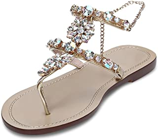 JF shoes Women's Wedding Sandals Crystal with Rhinestone Beaded Bohemian Dress Flip-Flop Gladiator Shoes (US 9), Gold