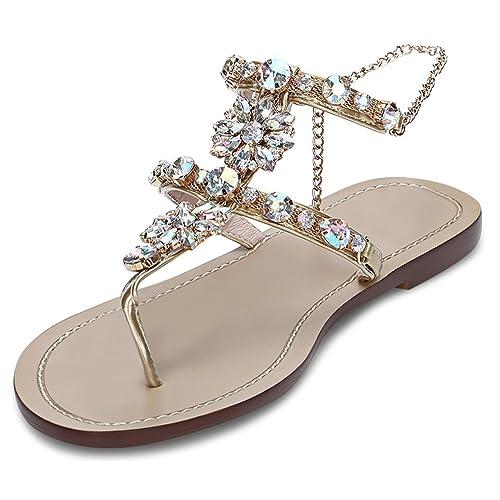 51966c18a25e5 JF shoes Women s Crystal with Rhinestone Bohemia Flip Flops Summer Beach T-Strap  Flat Sandals