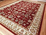 Large Persian Style Rugs Traditional Rug Burgandy 8 x 11 Red Rugs Cream Green Beige 8 by 10 Area Rugs Living Room Prime