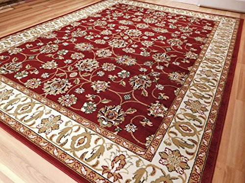 red rug with cream and white traditional Persian rug