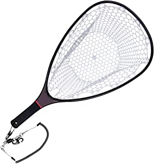 SF Fly Fishing Landing Net Soft Rubber Mesh Trout Net...