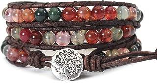IU 3 (Triple) Leather Wrap Bead Bracelet for Women Boho Braided Bangle Adjustable