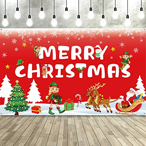 Christmas Backdrop Green Santa Elves Banner Elf Xmas Photography Background Photo Booth Props for Holiday Party Christmas Elves Decorations, 72.8 x 43.3 inch