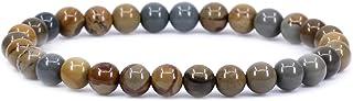 سوار ماركة كيليني من الأحجار شبه الكريمة بحجم 6 ملم مزين بخرز من الكريستال المستدير وقابل للتمدد، مقاس 7 انش للجنسين