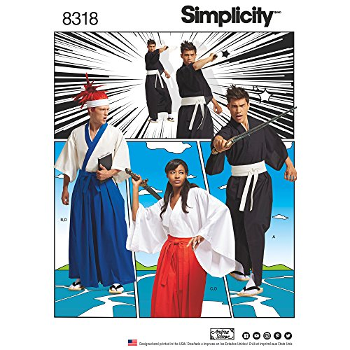 Simplicity 8318 Unisex Martial Arts Samurai Cosplay Kimono Sewing Pattern, Sizes XS-XL