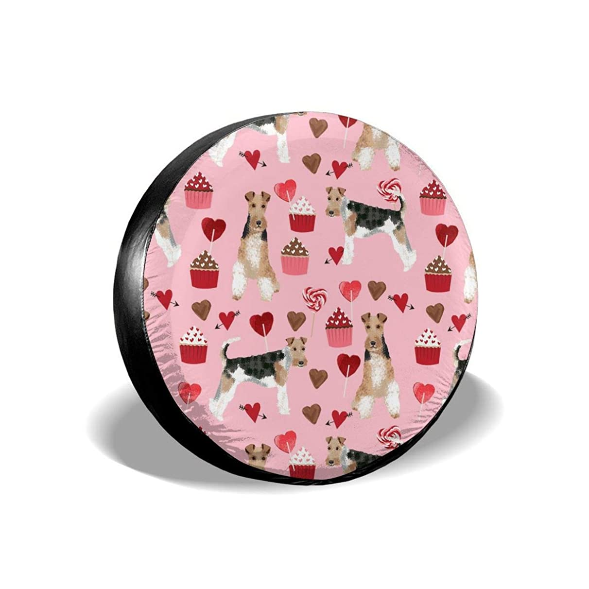 wire fox terrier valentines day cupcakes love hearts dog breed pink Polyester Universal Spare Wheel Tire Cover Wheel Covers Jeep Trailer RV SUV Truck Camper Travel Trailer Accessories(14,15,16,17 Inch