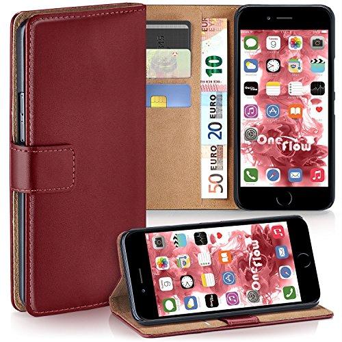 MoEx® Booklet mit Flip Funktion [360 Grad Voll-Schutz] für iPhone 7 / iPhone 8 | Geldfach & Kartenfach + Stand-Funktion & Magnet-Verschluss, Dunkel-Rot