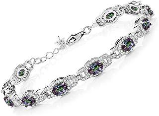 Sterling Silver Mystic Topaz Cubic Zirconia Adjustable Slider//Tennis Bracelet