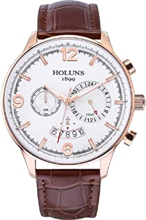 HOLUNS Men's Quartz Wrist Watch Sapphire Crystal Glass Leather Strap Casual Waterproof Watch with Gift Box FENGCHI Series