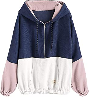 iHHAPY Women's Corduroy Coat Windbreaker Casual Jacket Long Sleeve Zipper Jacket Patchwork Hoodies Sweatshirt Oversize