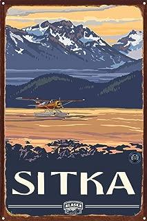 Sitka Alaska Float Plane Rustic Metal Art Print by Paul A. Lanquist (12
