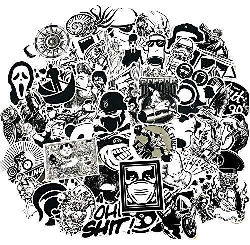 ZJJHX Hip Hop Schwarz Und Weiß Aufkleber Snowboard Auto Styling Schlitten Box Gepäck Kühlschrank Spielzeug Vinyl Aufkleber Home Cool Aufkleber 100 Teile/Satz