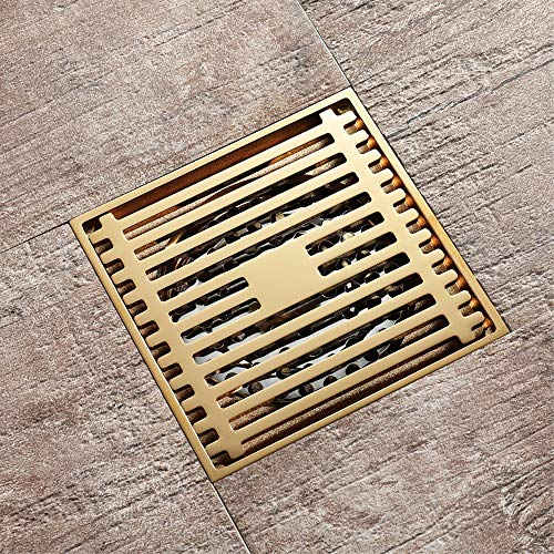 PIJN Bodenablauf Copper Deodorant Goldenes WC Badezimmer mit großem Hubraum Bodenablauf Quadratmaschen Bodenablauf (Color : Metallic, Size : 100x100x28mm)