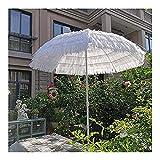CCFCF Blanco Sombrilla De Jardín con Techo De Paja Hawaiano, 1,6m UV 50+ Sombrilla De Playa Portátil Impermeable, Sombrilla De Exterior para Balcón Patio
