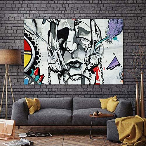 MJKLU Dibujar coreCreative Personaje Abstracto Cara Graffiti Cartel Lienzo Pintura Mural Arte Cartel Imprimir Sala de Estar decoración del hogar 60x90 cm