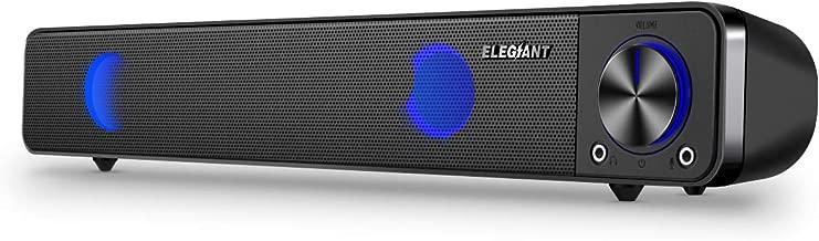 ELEGIANT Altavoz PC, Mini Barra de Sonido de Cable USB Portátil para Música con LED RGB con Dual Altavoz de Alto Rendimiento para Ordenador Walkmen para Fiesta
