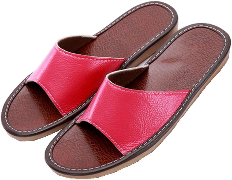 SAMSAY Unisex Genuine Leather Home Furnishing Indoor Slipper Flat Sandals