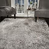 viceroy bedding SHAGGY RUG Super Plush Extra Large Rugs Living Room with SHIMMERING SPARKLE GLITTER STRANDS Fluffy 55mm Thick Pile Height Modern Area Rugs - (Silver Grey, 80cm x 150cm (3ft x 5ft))