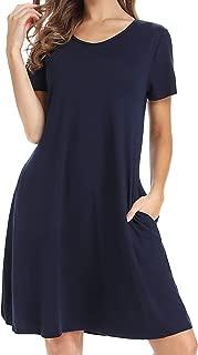 CakCton Women's Casual Dress T-Shirt Dress Cotton Tunic Loose-Fit Short Sleeve Dress