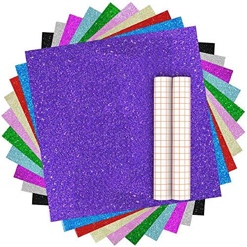 "Heflashor Glitter Permanent Adhesive Vinyl, 12 Sheets Shimmer Permanent Vinyl Sheets 12"" x 10"", Glitter Adhesive Craft Vinyl with 2 Transfer Tape Sheets"