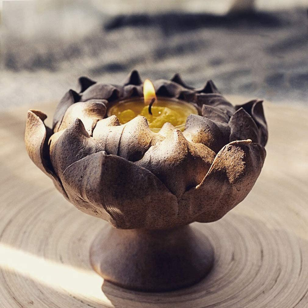 Handlemade Pottery Candle Cheap mail order shopping Holder Candlestick Ranking TOP18 Lotus Stand Candela