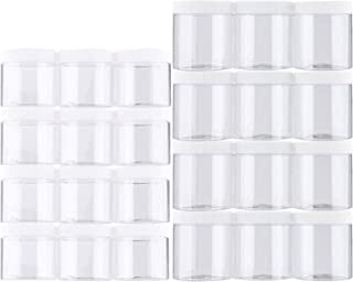 Habbi Slime Containers - 24 Pack Empty Slime Storage Jars 6 OZ. & 8 OZ. Clear Plastic Food Storage Jars with White Lids fo...