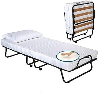 EvergreenWeb - Somier Plegable ortopédico Hierro y láminas de Madera, con colchón y Almohada en viscoelástica Gratis - Cam...