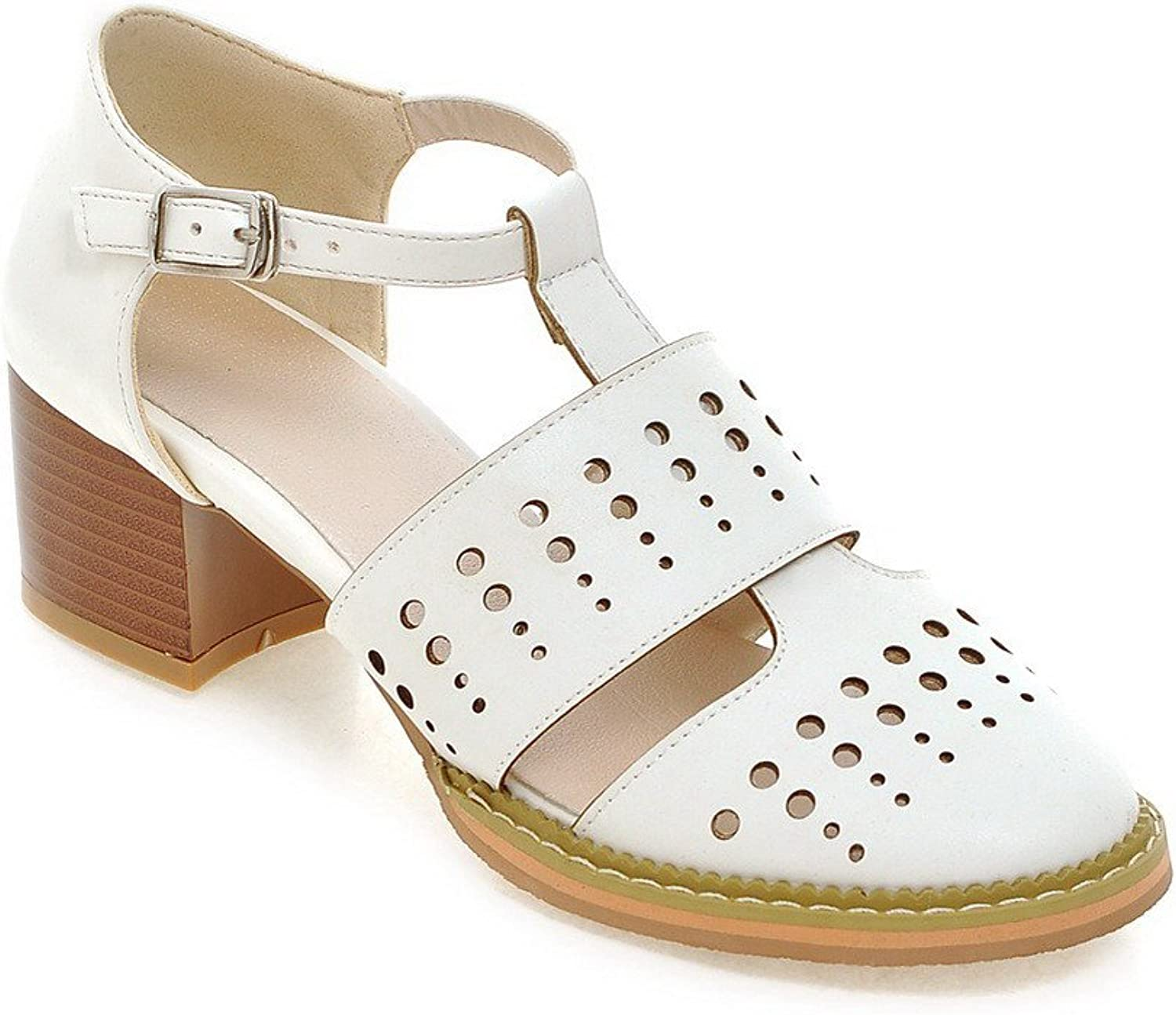 AmoonyFashion Women's Buckle Blend Materials Round Closed Toe Kitten Heels Solid Pumps shoes