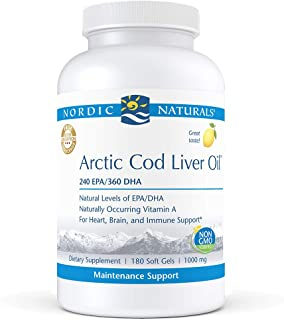 Nordic Naturals Pro - Arctic Cod Liver Oil CLO, Supports Heart and Brain Health - Lemon-Flavored 180 Soft Gels