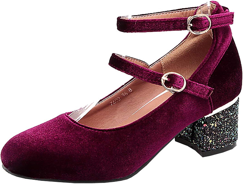 Artfaerie Womens Velvet Mary Jane Chunky Heels Ankle Strap Mid Block Heeled Retro Court shoes