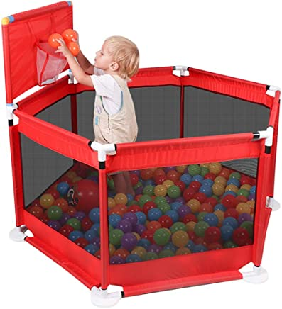 WJSW Adorable Safety Play Center Yard Playpens Baby Playyard Safety Fence Shatter Resistant Toys Household Protective House Infant Tents  Red