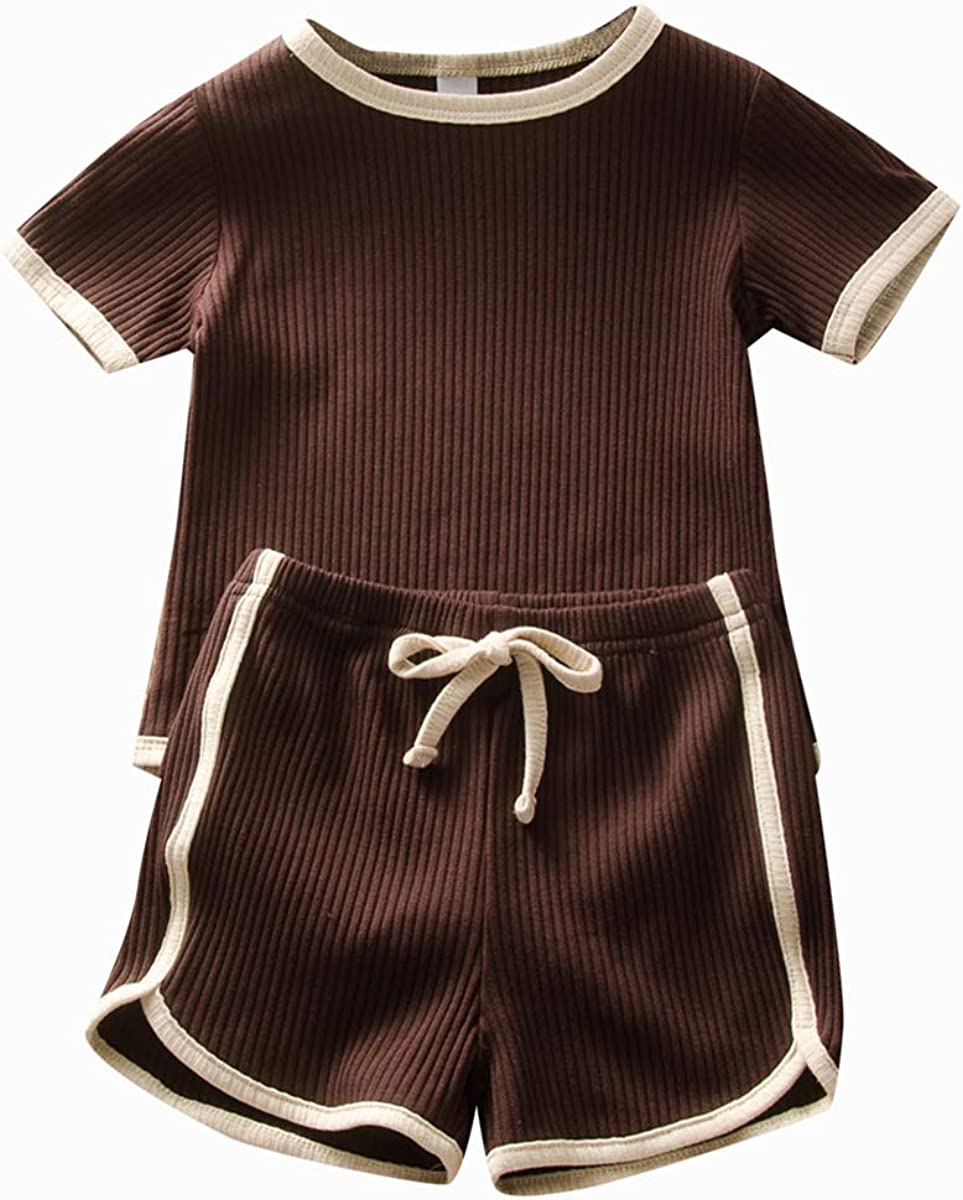Baby Unisex Pajamas, Top with Pants Set 2 Piece Outfit, Organic Cotton Clothing Set for Infant Baby Boys and Girls Clothes (Coffee, 0-6M)