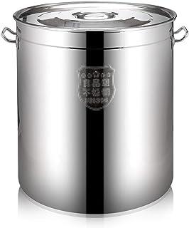 TWW Seau À Soupe Binaural Durable en Acier Inoxydable 304 avec Couvercle Seau De Stockage d'eau De Cantine De Grande Capac...