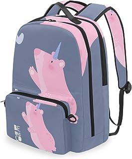 Mochila con bolsa cruzada desmontable, diseño de unicornio, para viajes, senderismo, acampada