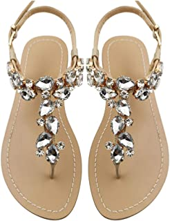 Mayou Women's Rhinestone Flat Sandals, Women Flip Flops with Beadeed Rhinestone Crystal Jeweled Sandal Shoes for Summer Beach Oceanside Holiday Outdoor