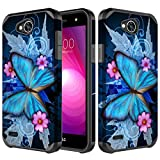 LG X Power 2 Case, LG Fiesta LTE Case, LG Fiesta 2 Case, LG K10 Powers Case,LG X Charge [Shock Proof] Hybrid Dual Layer Armor Defender Protective Case Cover for LG X Power 2/LG Fiesta - Blue Butterfly